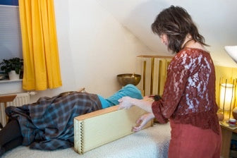 example of a Monolina used as a therapy Monochord in a sound massage setting