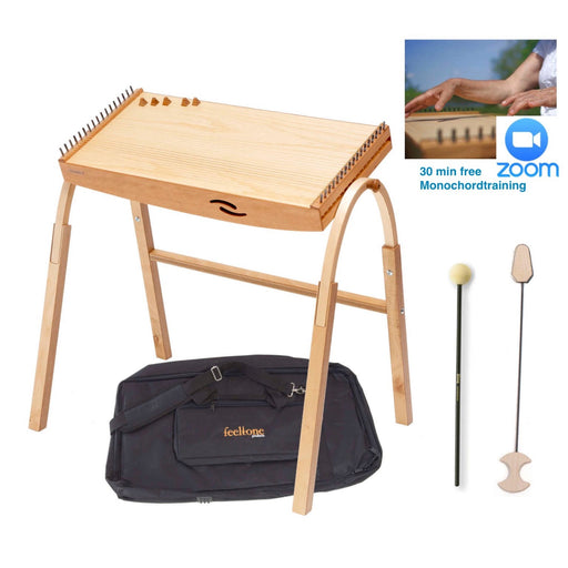 Monolina monochord from feeltone with extendable legs, travelog , mallets and free online training