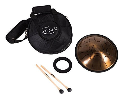 feeltoneusa - Metal Sounds - Akebone Zenko Drum , handpan made out of stainless steel  comes with bag, travel case, support ring and sticks