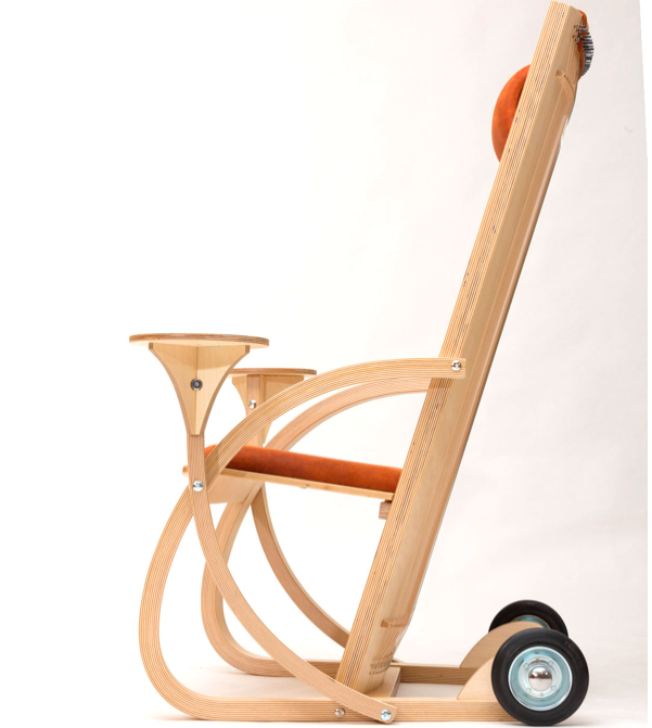 monchair with added tables and wheels