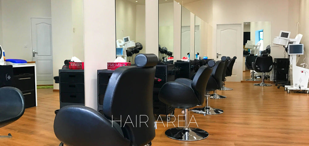SINIMA Salon offers Bridal makeup, Hair straightening/smoothening, Keratin treatments, Dermalogica Facials, Phytomer Facials, Cryo Facials, manicure, pedicure, hair spas. Hair styling area at the SINIMA Hair and Bridal makeup studio.