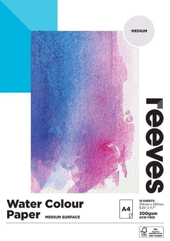 Reeves Water Colour Paper Pads 300gsm 12 Sheets Art