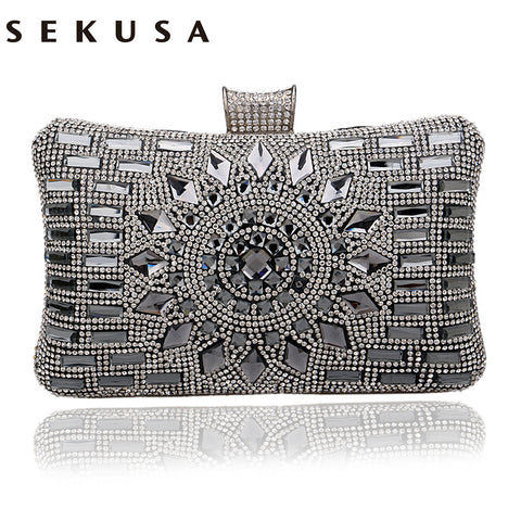 SEKUSA Acrylic Women Handbags Faux-Diamonds Clutch, Delivers in 16-26 days
