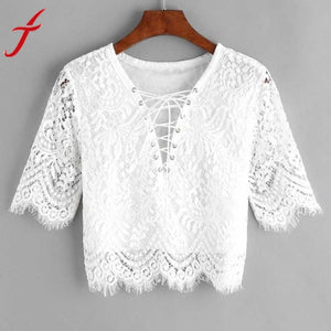Sexy Lace White Blouse (Delivers in 16-30 days)
