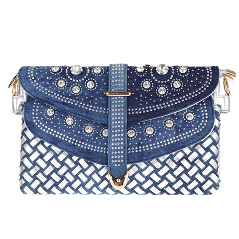 2018 New Woven Handbags Fashion National Style Blue And White Porcelain Denim Clutch (20cm high x 29 cm long) (Delivers in 16-26 days)