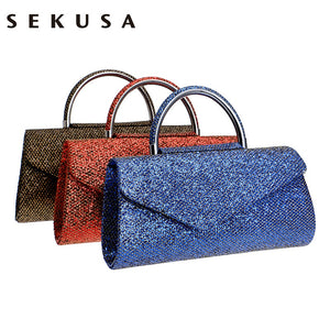 SEKUSA Fashion Women Clutches With Handle, Sequined, Gold/Red/Blue, Delivers in 15-30 days.