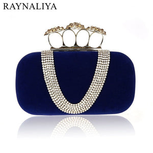 New Velvet V-shaped Faux- Diamond Clutch, Comes in 4 colors, Delivers in 16-26 days
