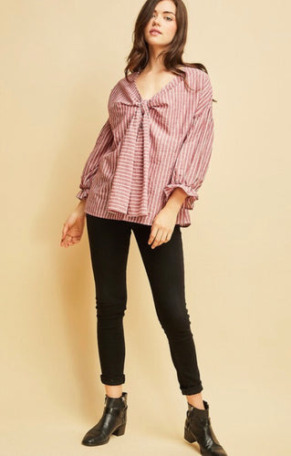 Long Sleeve Bow Top