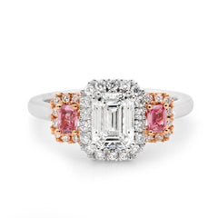 WHITE AND PINK EMERALD CUT DIAMOND RING