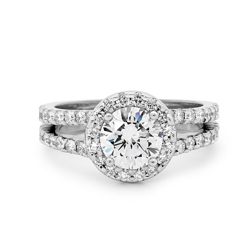 18ct White Gold Round Centre Diamond Ring
