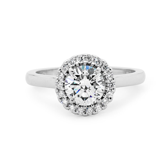 White Gold Halo Diamond Ring Perth