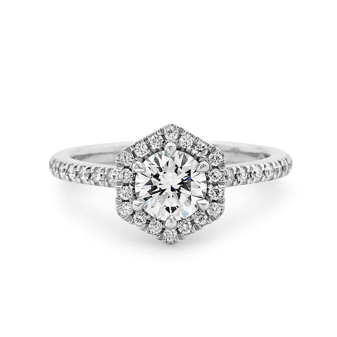 White Gold Hexagonal Halo Diamond Ring Perth