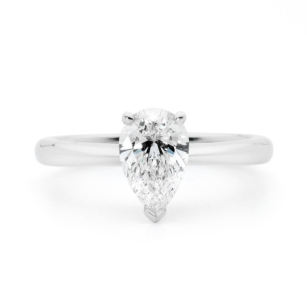 Pear Cut Solitaire Diamond Ring