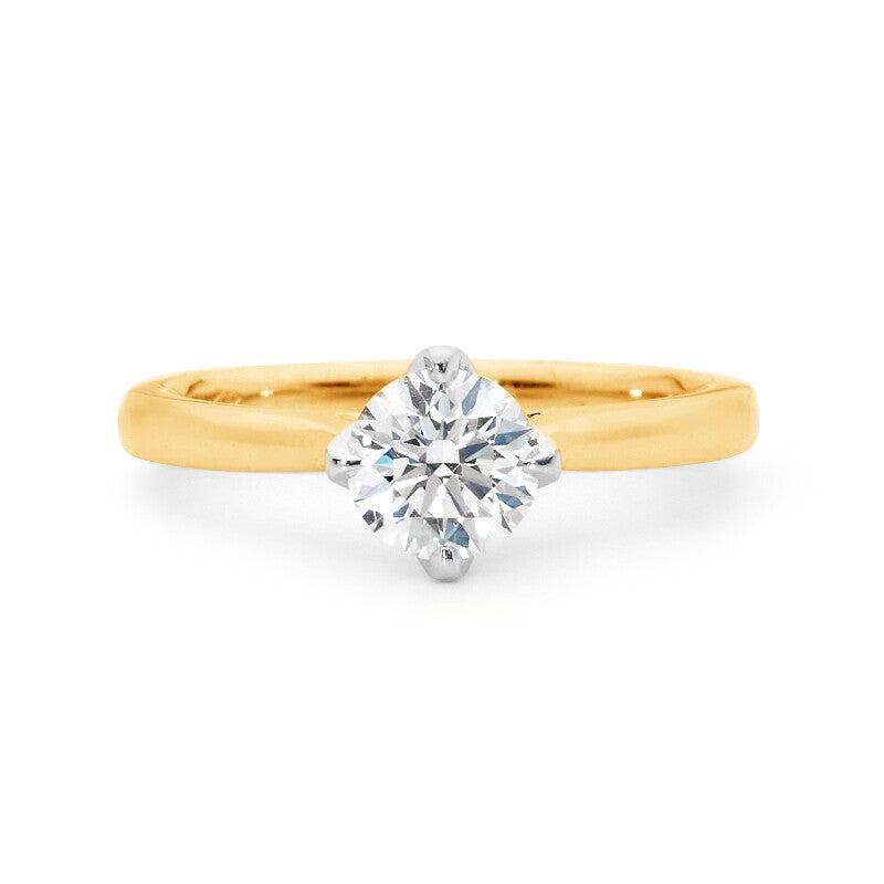 Cardinal Point Diamond Solitaire Ring