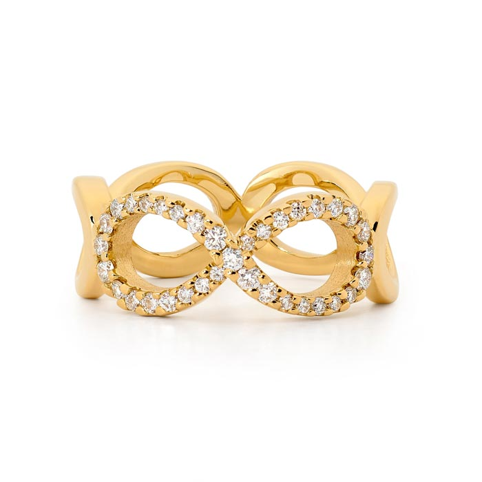 18ct gold infinity diamond ring
