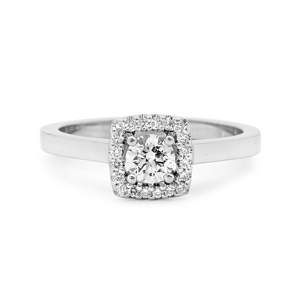 18ct White Gold Squared Diamond Ring