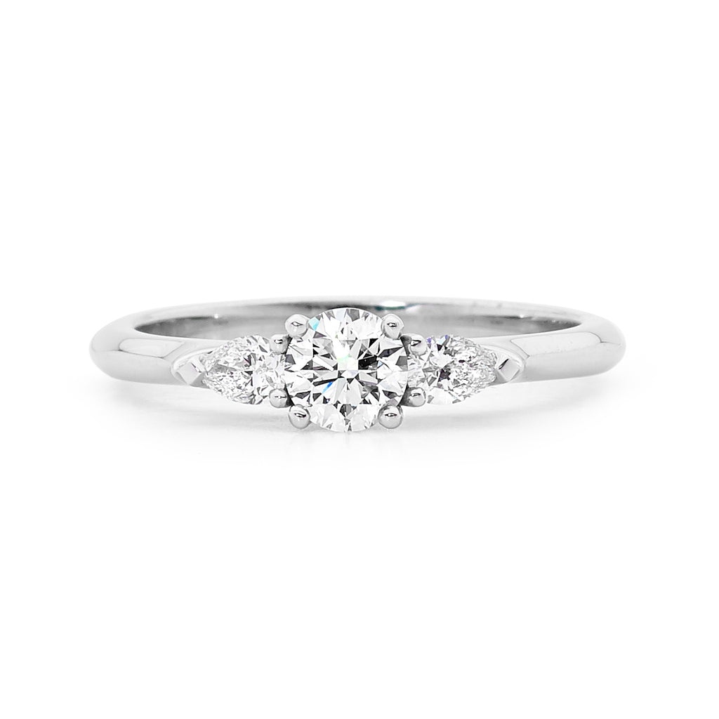 18ct White Gold Delicate Pear Cut Diamond Ring