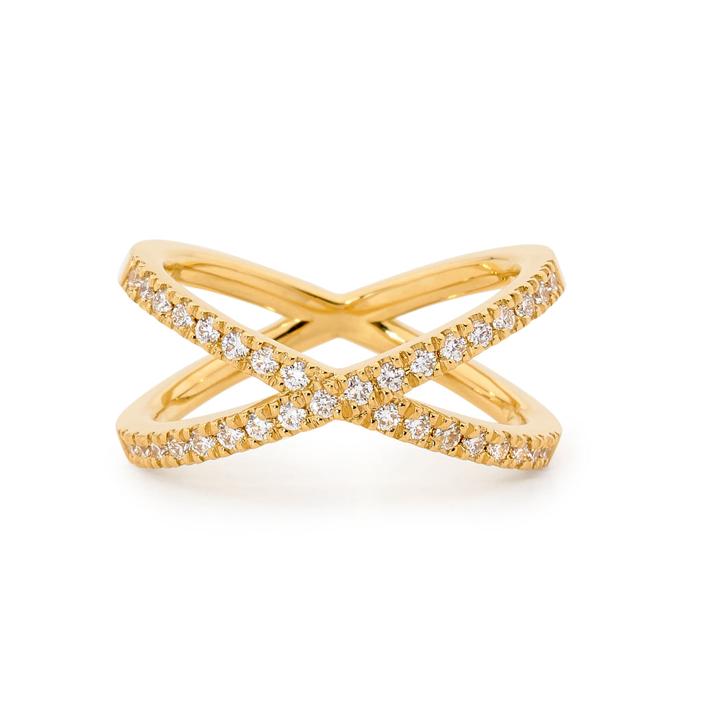 18ct Gold Modern Design Diamond Ring