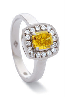 Yellow radiant cut diamond ring