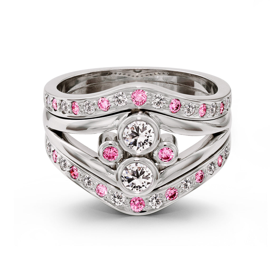 Triple Band Pink and White Diamond Ring