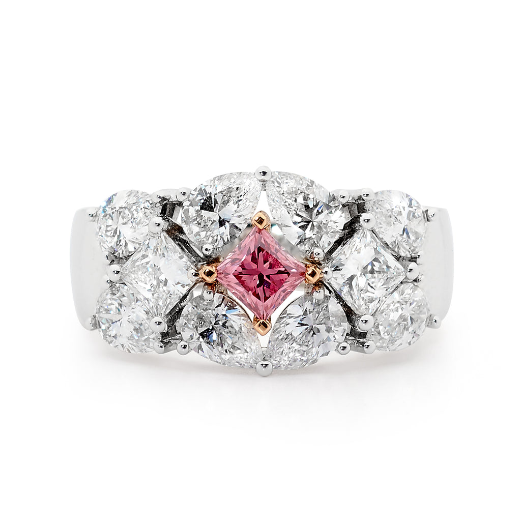 18ct Gold Pink and White Diamond Ring Perth