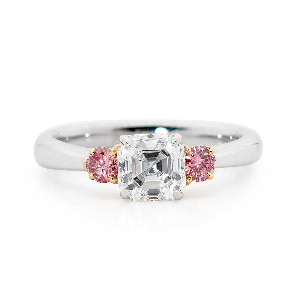 Square emerald cut pink diamond ring