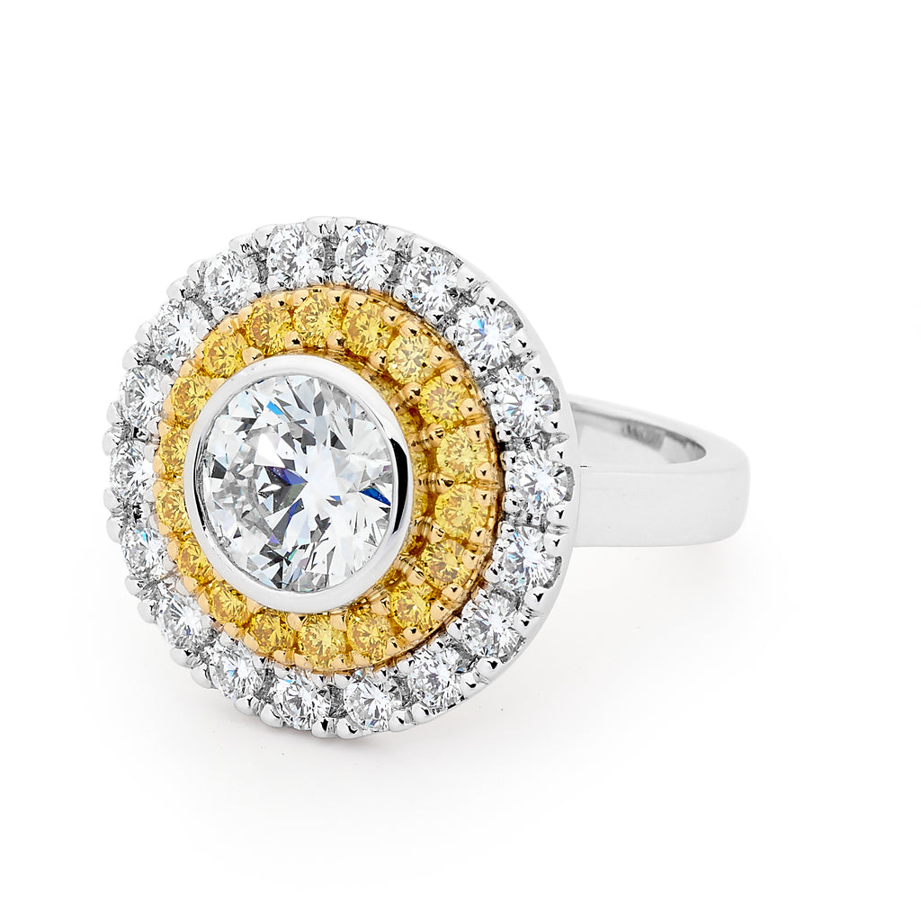 round gold yellow and white diamond ring