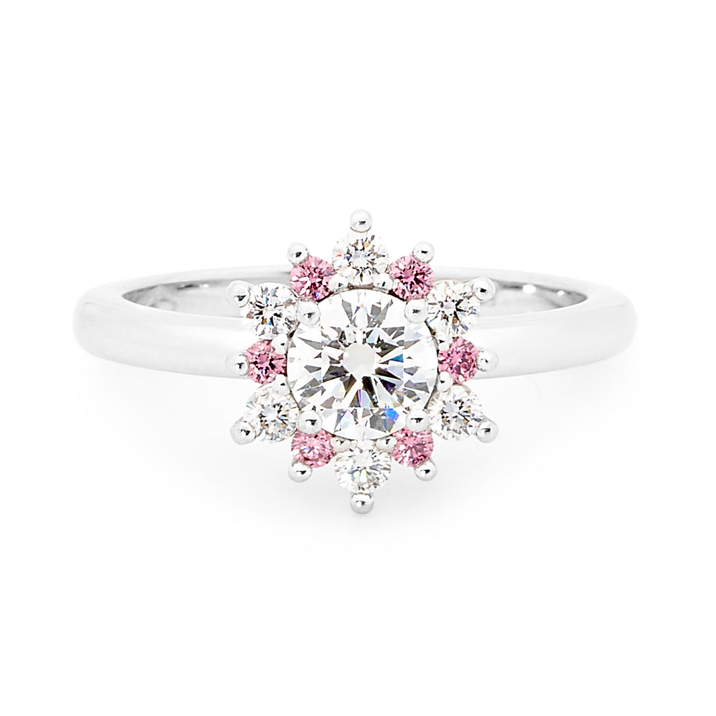 18ct White Gold 6 Pink and 6 White Diamond Ring