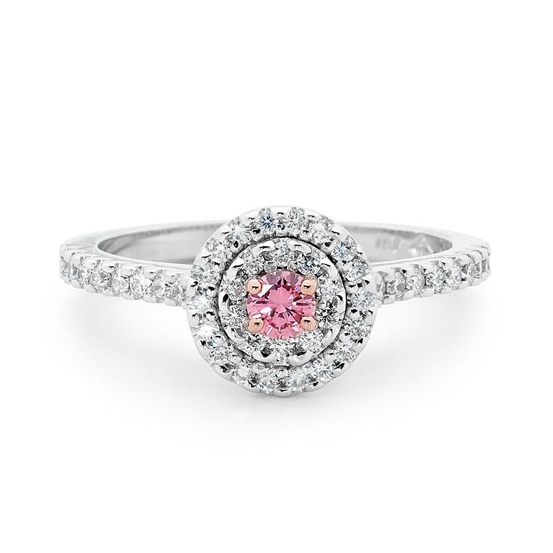 Round brilliant cut pink diamond ring