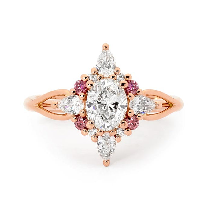18ct Rose Gold Pink and White Oval Diamond Ring