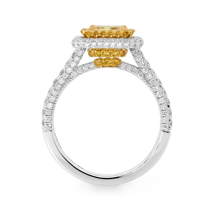 Platinum and 18ct yellow gold yellow and white diamond ring