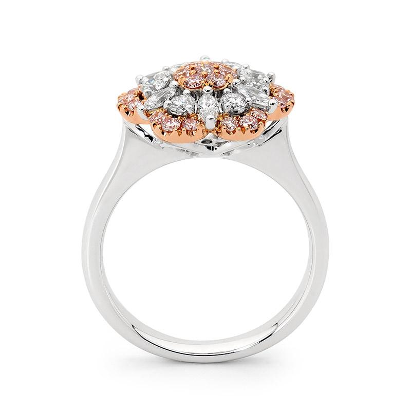18ct White and Rose Gold Pink Floral Diamond Ring