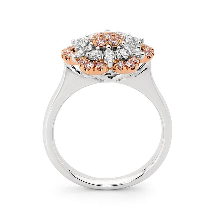 18ct White and Rose Gold Pink Floral Diamond Ring top view