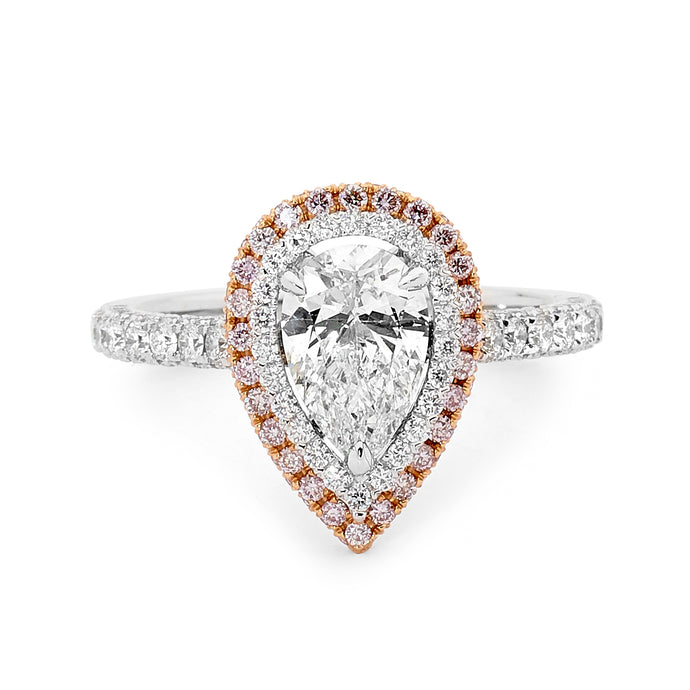 Pear Cut White Diamond and Pink Diamond Ring