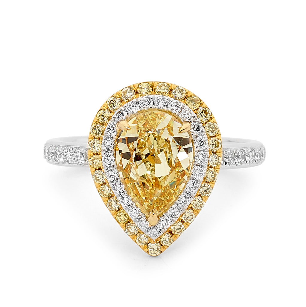 Pear Cut Yellow and White Diamond Ring