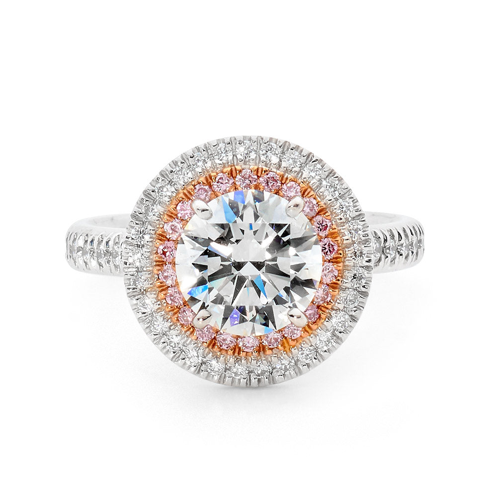 White and Pink Double Halo Diamond Ring