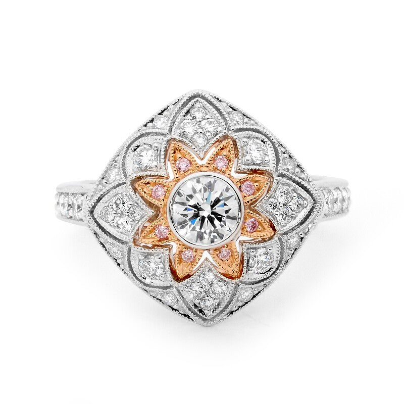 Artistic Pink and White Diamond Ring