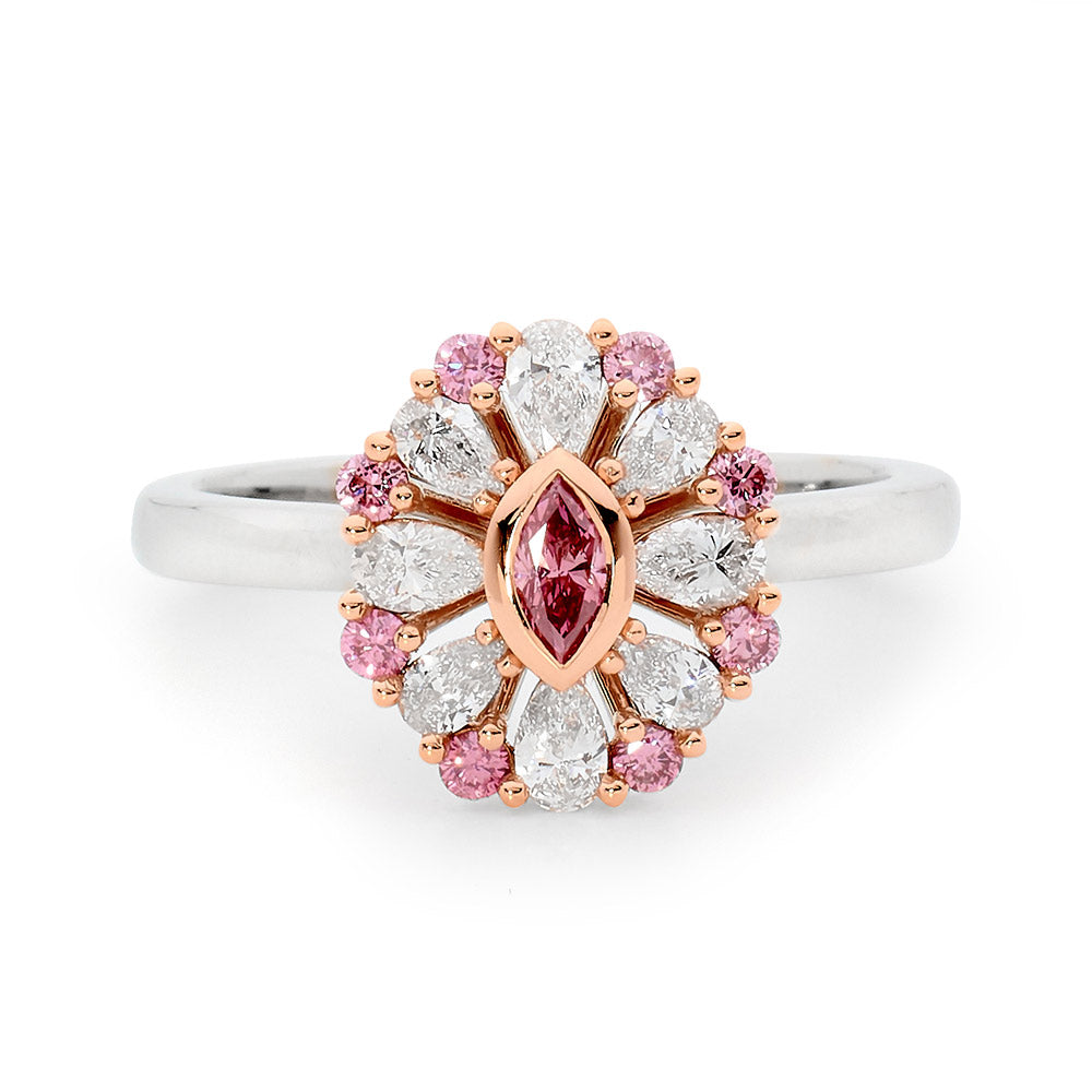 Floral Inspired Pink and White Diamond Ring