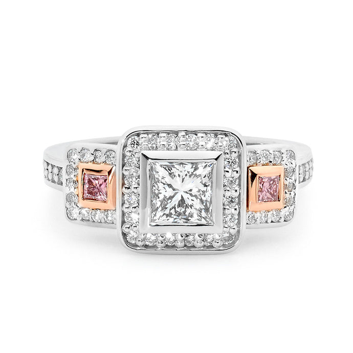 Princess Cut White and Pink Diamond Ring