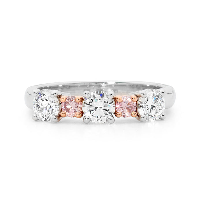 White and Pink Diamond Ring