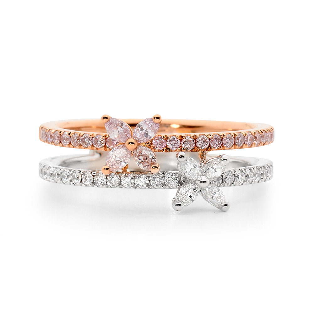 Double Row Pink and White Diamond Ring