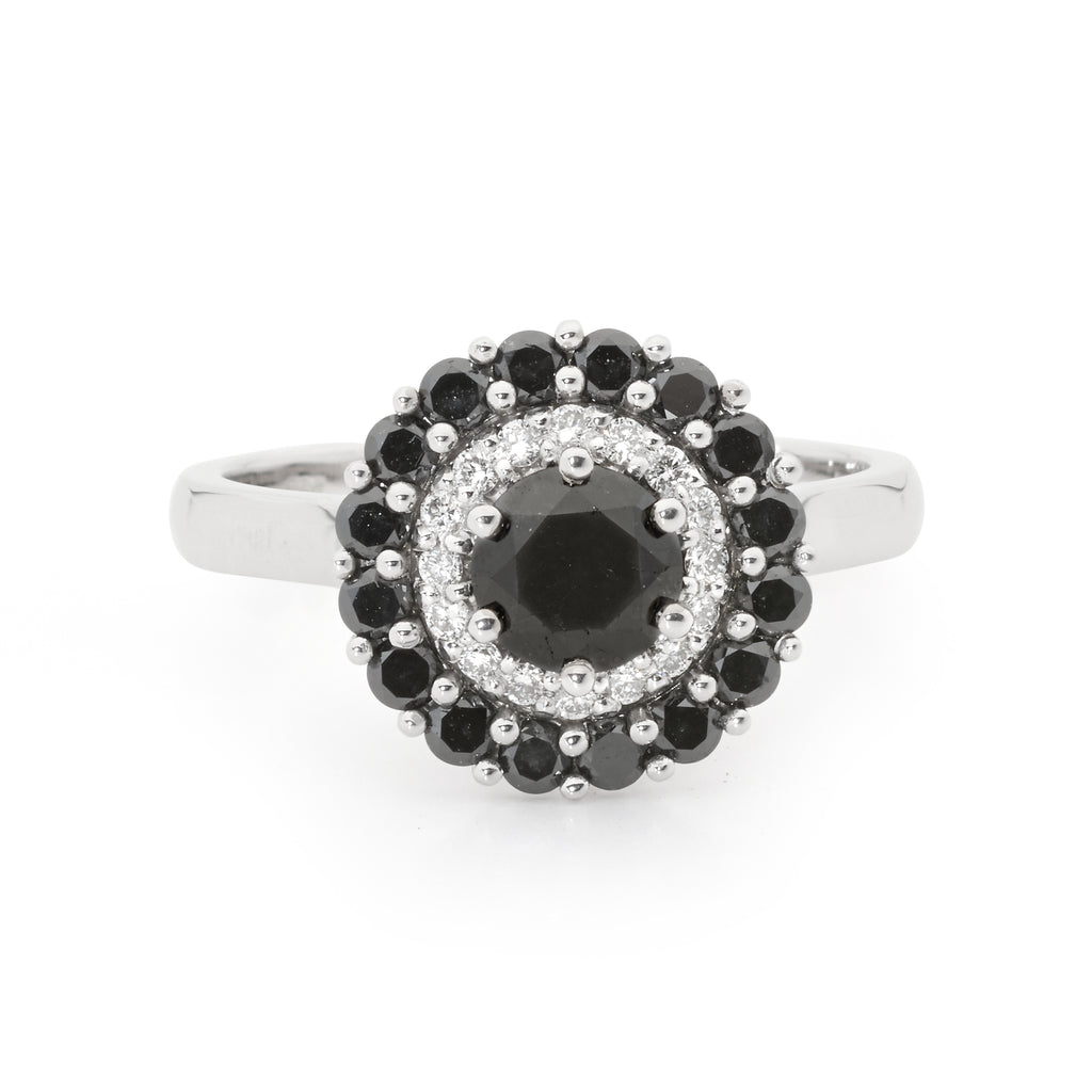 Round brilliant cut black diamond ring