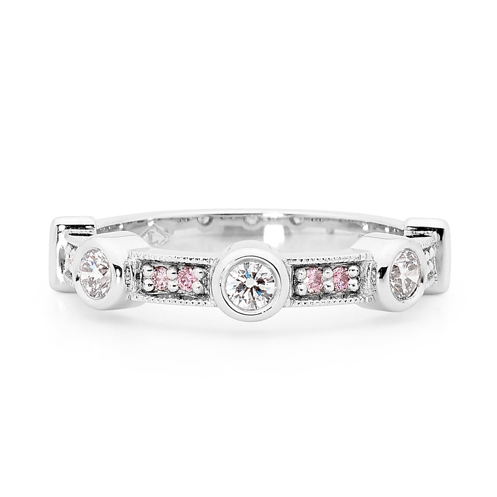 18ct white gold pink and white diamond ring