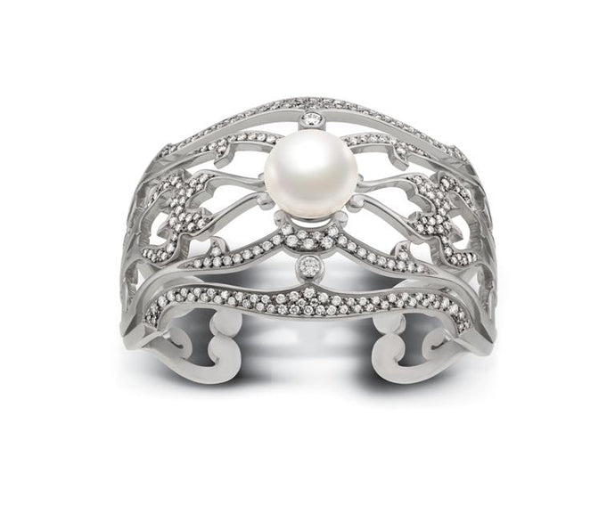 Vintage Inspired Pearl & Diamond Cuff Bangle