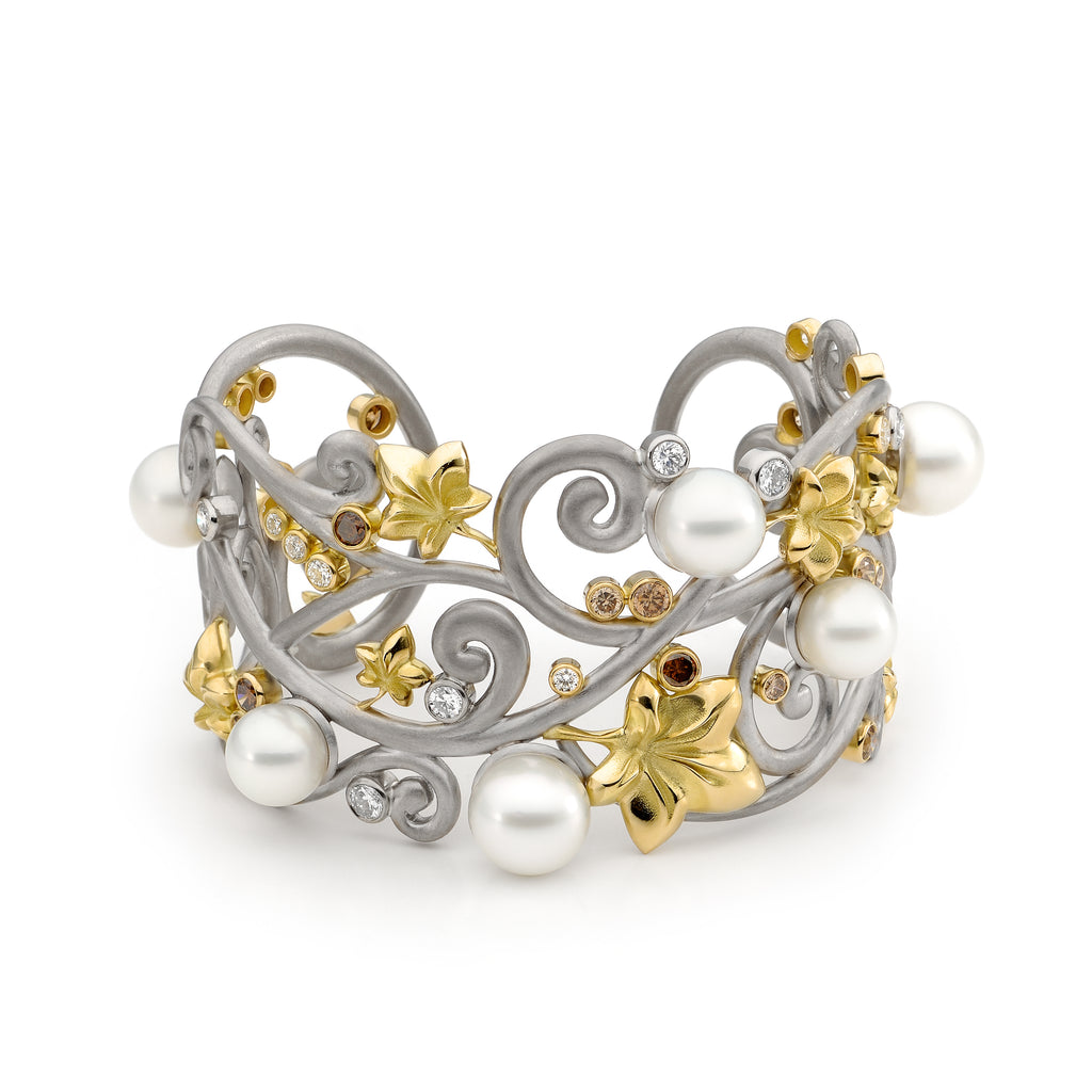 Australian South Sea Pearl and Diamond Cuff Bangle