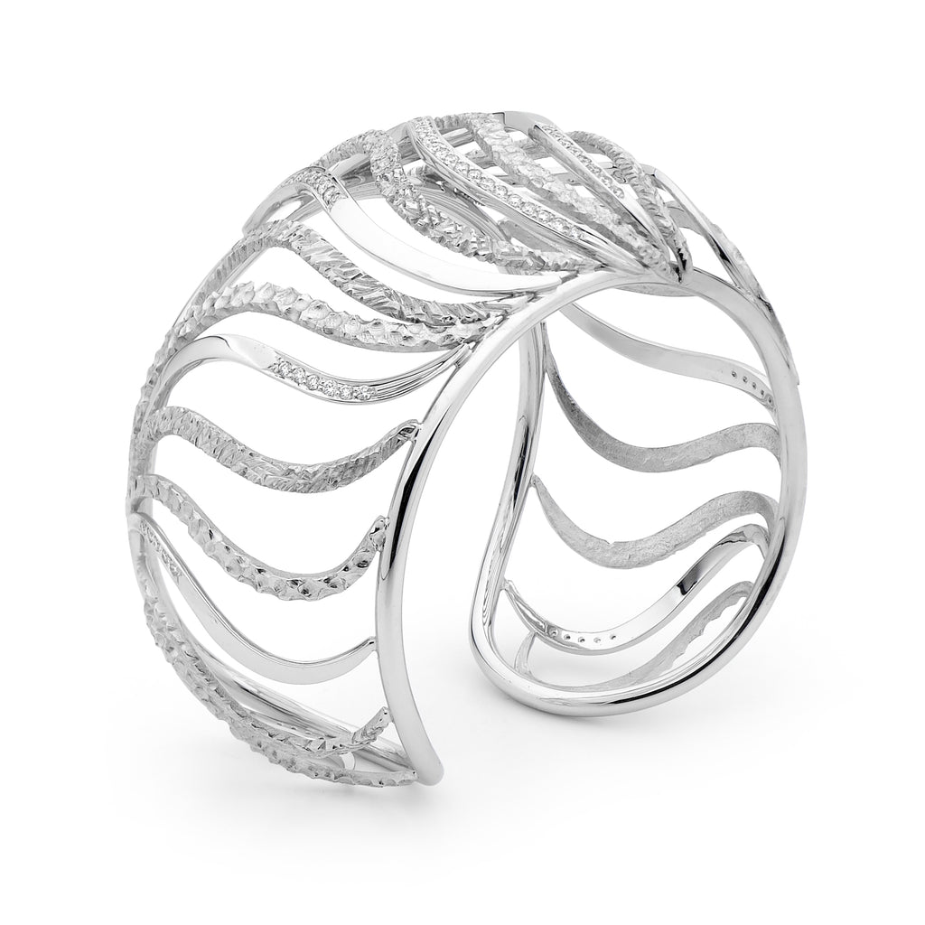 Diamond Wave Cuff Bangle