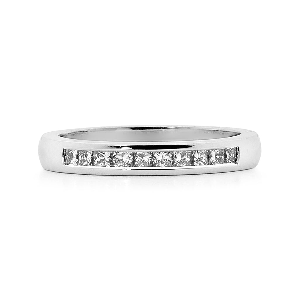 Princess cut channel set diamond ring