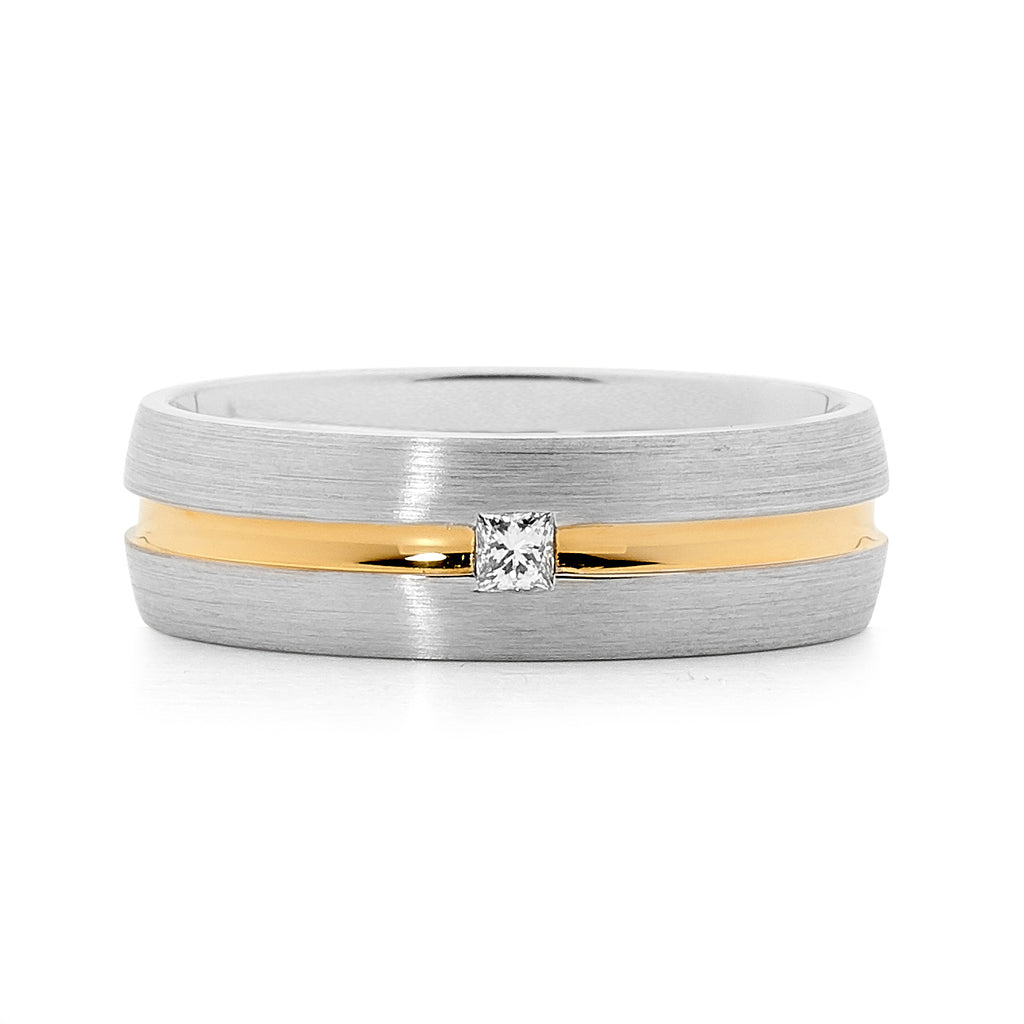 18ct white and yellow gold men's diamond ring