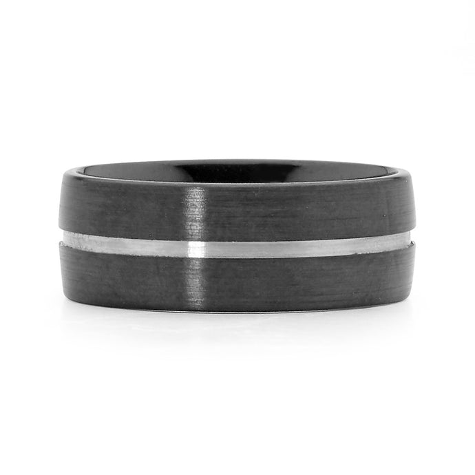 Recessed Groove Zirconium Men's Ring
