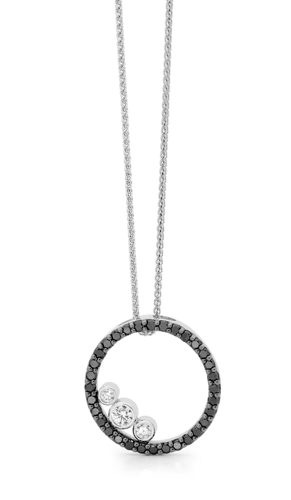 Black & white circular Diamond Pendant